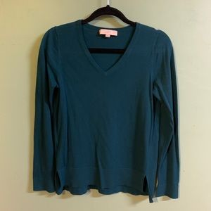 Loft V-Neck Split Cuff Sweater